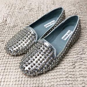 Steve Madden | Studlyy Silver Stud Glitter Loafer